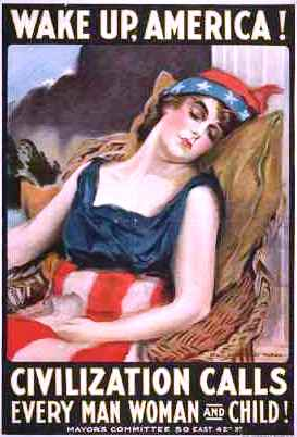 America Enters WWI for Kids Illustration